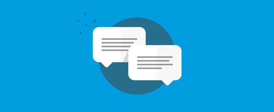 Sprechblasen – Headerbild zu Blogbeitrag Vorteile von Live-Chat
