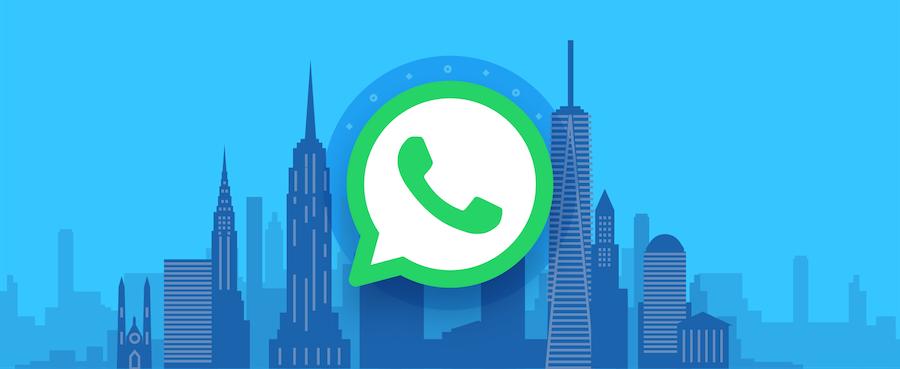 WhatsApp logo with skyscraper background.