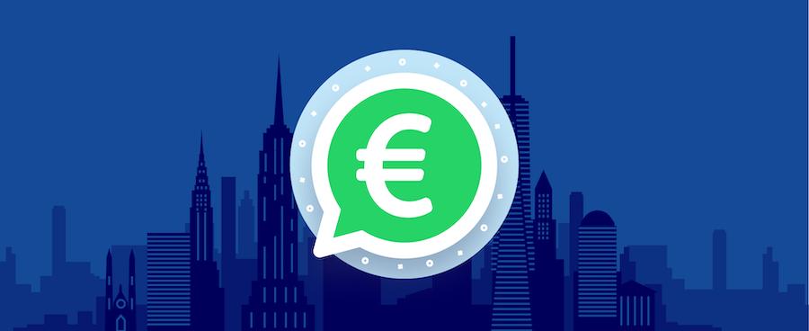 Bild zeigt ein Eurozeichen in WhatsApp-Logo vor einer Skyline – Blogbeitrag zu WhatsApp Business Kosten